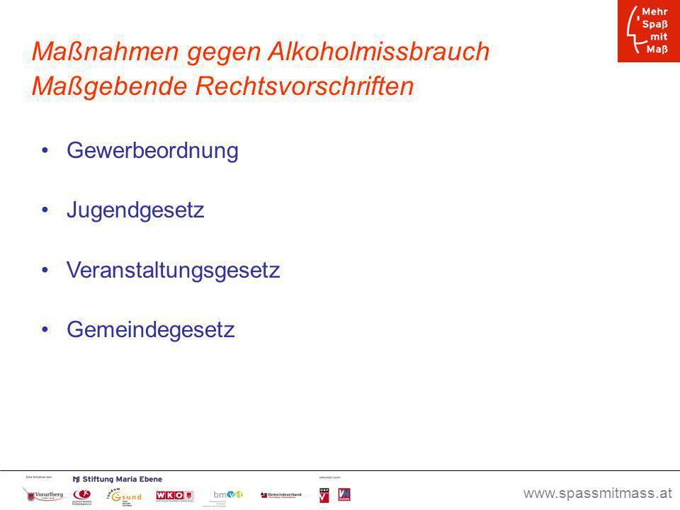 www.spassmitmass.at Seite 41 Maßnahmen gegen Alkoholmissbrauch Maßgebende Rechtsvorschriften Gewerbeordnung Jugendgesetz Veranstaltungsgesetz Gemeinde