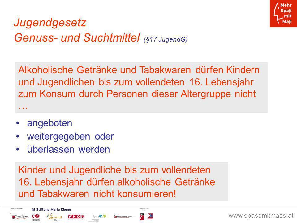 www.spassmitmass.at Seite 47 Jugendgesetz Genuss- und Suchtmittel (§17 JugendG) angeboten weitergegeben oder überlassen werden Alkoholische Getränke u