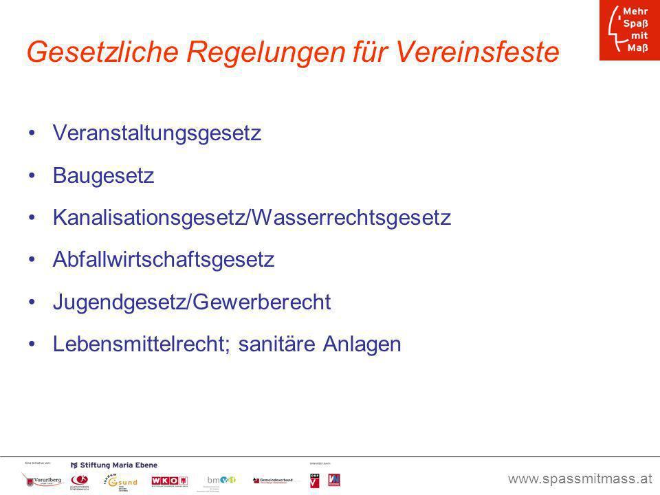 www.spassmitmass.at Seite 49 Gesetzliche Regelungen für Vereinsfeste Veranstaltungsgesetz Baugesetz Kanalisationsgesetz/Wasserrechtsgesetz Abfallwirts