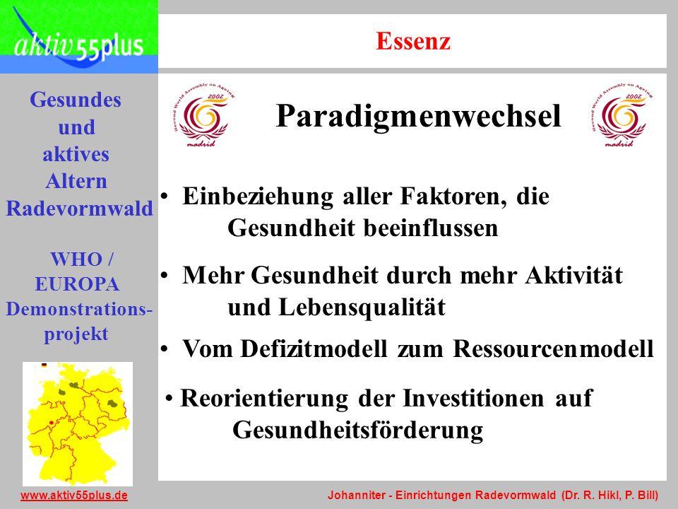 Gesundes und aktives Altern Radevormwald WHO / EUROPA Demonstrations- projekt www.aktiv55plus.dewww.aktiv55plus.de Johanniter - Einrichtungen Radevormwald (Dr.