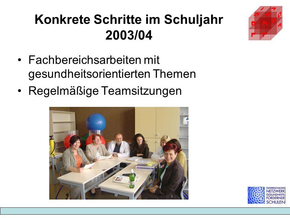 Konkrete Schritte im Schuljahr 2003/04 Fachbereichsarbeiten mit gesundheitsorientierten Themen Regelmäßige Teamsitzungen