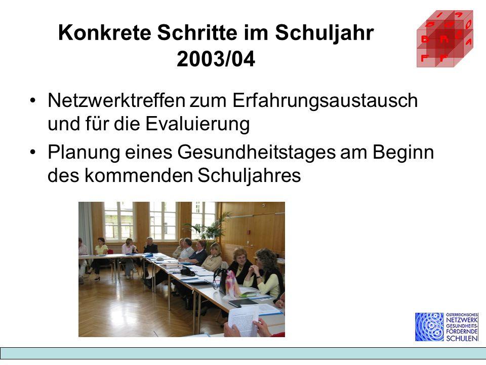 Konkrete Schritte im Schuljahr 2003/04 Netzwerktreffen zum Erfahrungsaustausch und für die Evaluierung Planung eines Gesundheitstages am Beginn des ko