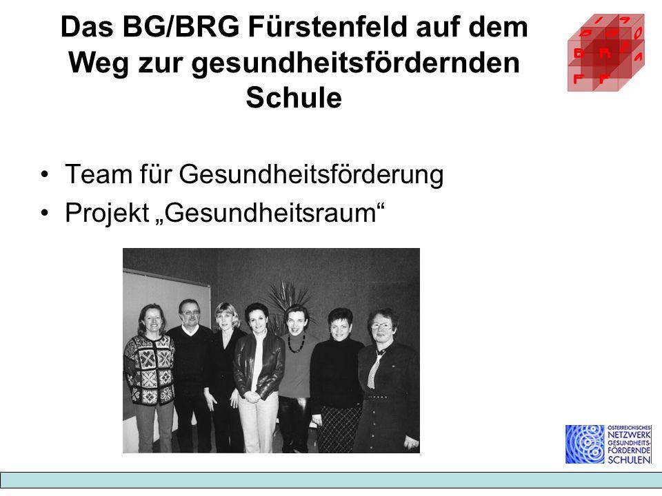 Das BG/BRG Fürstenfeld auf dem Weg zur gesundheitsfördernden Schule Team für Gesundheitsförderung Projekt Gesundheitsraum