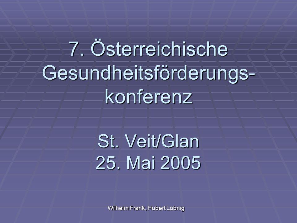 Wilhelm Frank, Hubert Lobnig 7. Österreichische Gesundheitsförderungs- konferenz St.