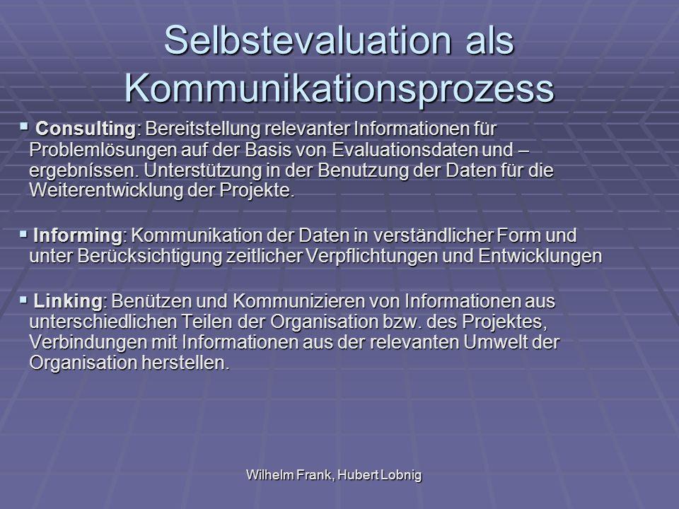 Wilhelm Frank, Hubert Lobnig Selbstevaluation als Kommunikationsprozess Consulting: Bereitstellung relevanter Informationen für Problemlösungen auf der Basis von Evaluationsdaten und – ergebníssen.