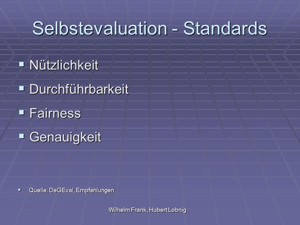 Selbstevaluation - Standards Nützlichkeit Nützlichkeit Durchführbarkeit Durchführbarkeit Fairness Fairness Genauigkeit Genauigkeit Quelle: DeGEval, Empfehlungen Quelle: DeGEval, Empfehlungen