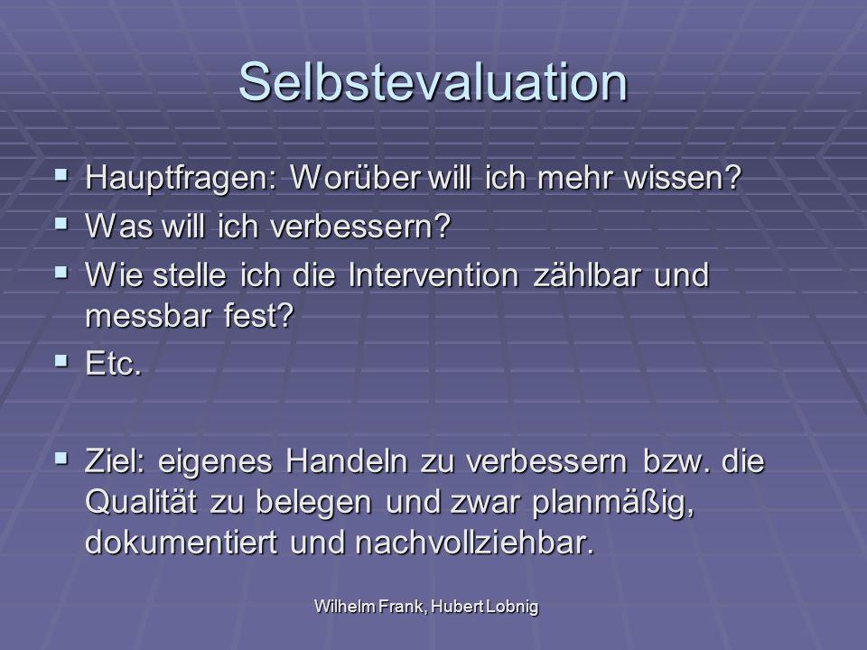 Wilhelm Frank, Hubert Lobnig Selbstevaluation Hauptfragen: Worüber will ich mehr wissen.