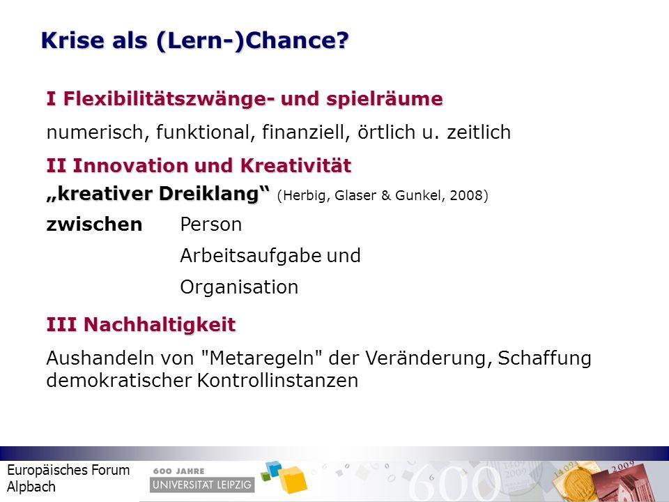Europäisches Forum Alpbach Krise als (Lern-)Chance? I Flexibilitätszwänge- und spielräume numerisch, funktional, finanziell, örtlich u. zeitlich II In