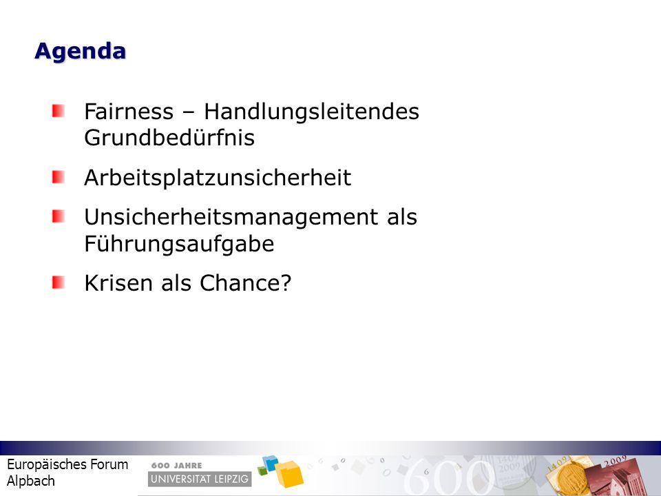 Europäisches Forum Alpbach Agenda Fairness – Handlungsleitendes Grundbedürfnis Arbeitsplatzunsicherheit Unsicherheitsmanagement als Führungsaufgabe Kr