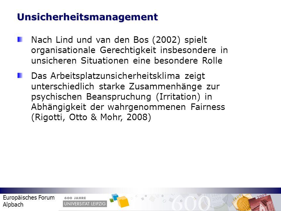 Europäisches Forum Alpbach Unsicherheitsmanagement Nach Lind und van den Bos (2002) spielt organisationale Gerechtigkeit insbesondere in unsicheren Si