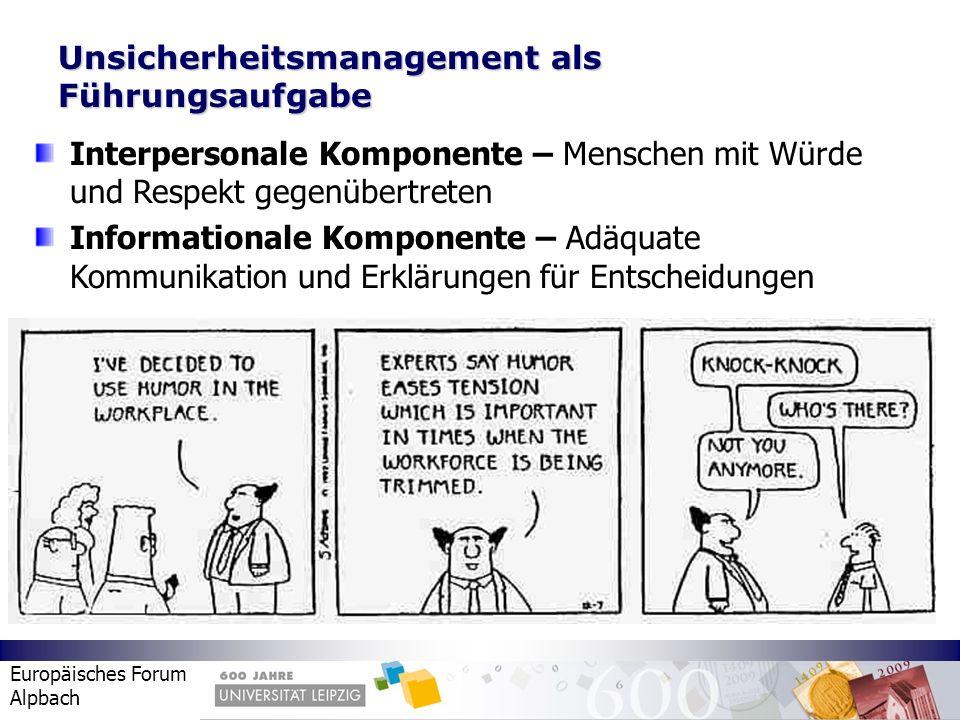Europäisches Forum Alpbach Unsicherheitsmanagement als Führungsaufgabe Interpersonale Komponente – Menschen mit Würde und Respekt gegenübertreten Info