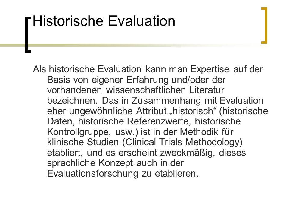 Historische Evaluation Als historische Evaluation kann man Expertise auf der Basis von eigener Erfahrung und/oder der vorhandenen wissenschaftlichen L