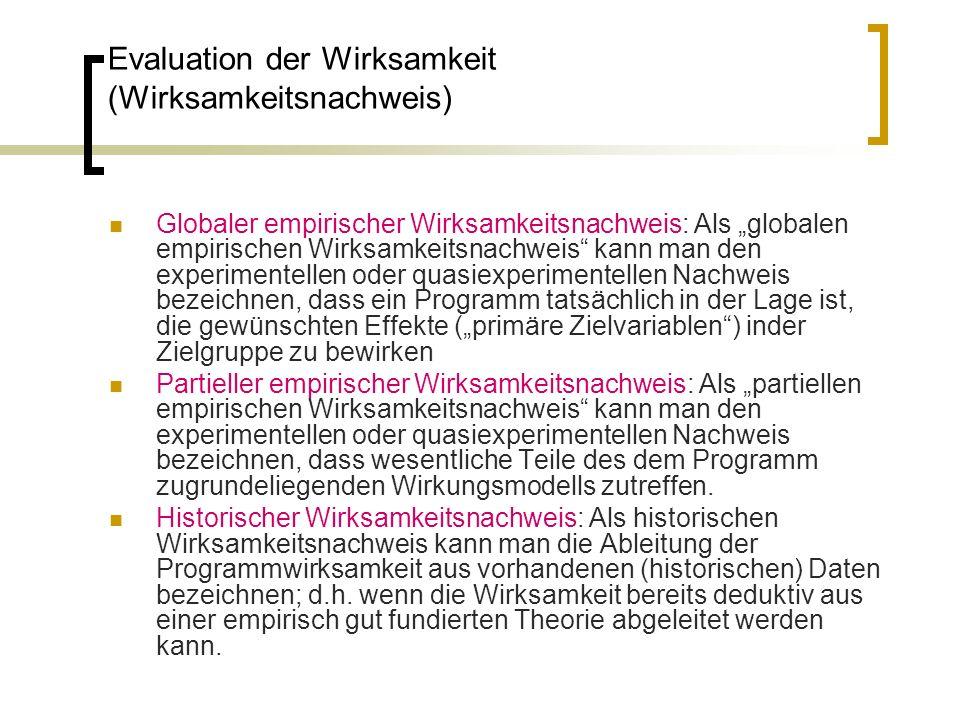 Evaluation der Wirksamkeit (Wirksamkeitsnachweis) Globaler empirischer Wirksamkeitsnachweis: Als globalen empirischen Wirksamkeitsnachweis kann man de