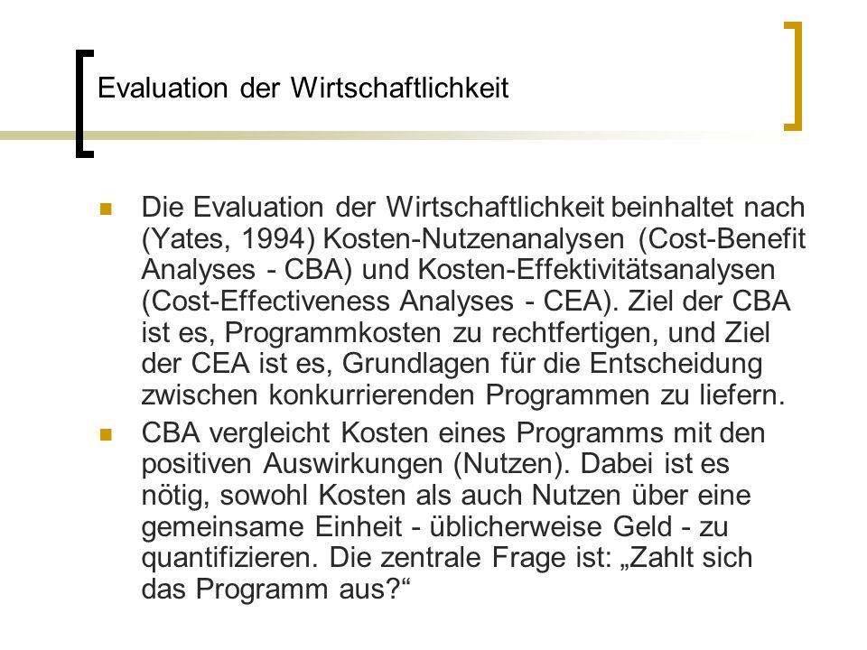 Evaluation der Wirtschaftlichkeit Die Evaluation der Wirtschaftlichkeit beinhaltet nach (Yates, 1994) Kosten-Nutzenanalysen (Cost-Benefit Analyses - C
