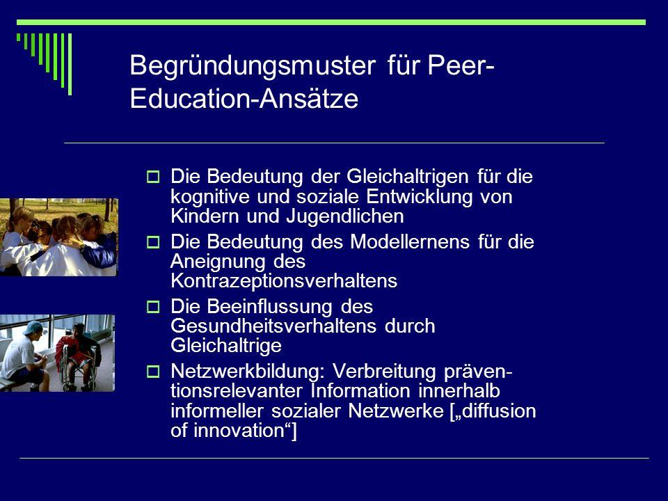 Begründungsmuster für Peer- Education-Ansätze Die Bedeutung der Gleichaltrigen für die kognitive und soziale Entwicklung von Kindern und Jugendlichen