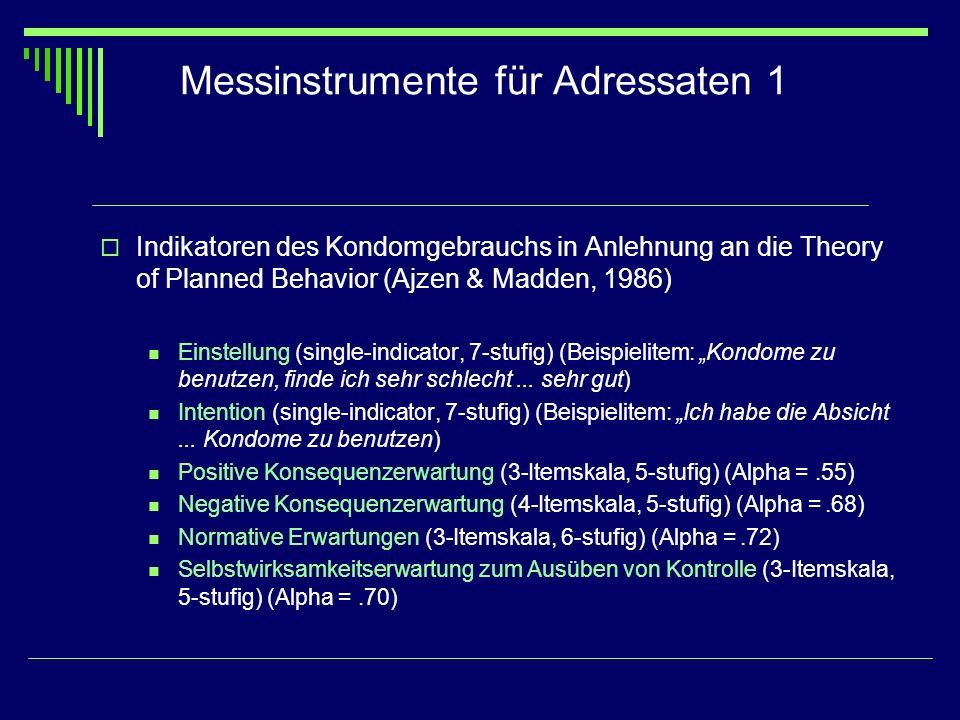 Messinstrumente für Adressaten 1 Indikatoren des Kondomgebrauchs in Anlehnung an die Theory of Planned Behavior (Ajzen & Madden, 1986) Einstellung (si