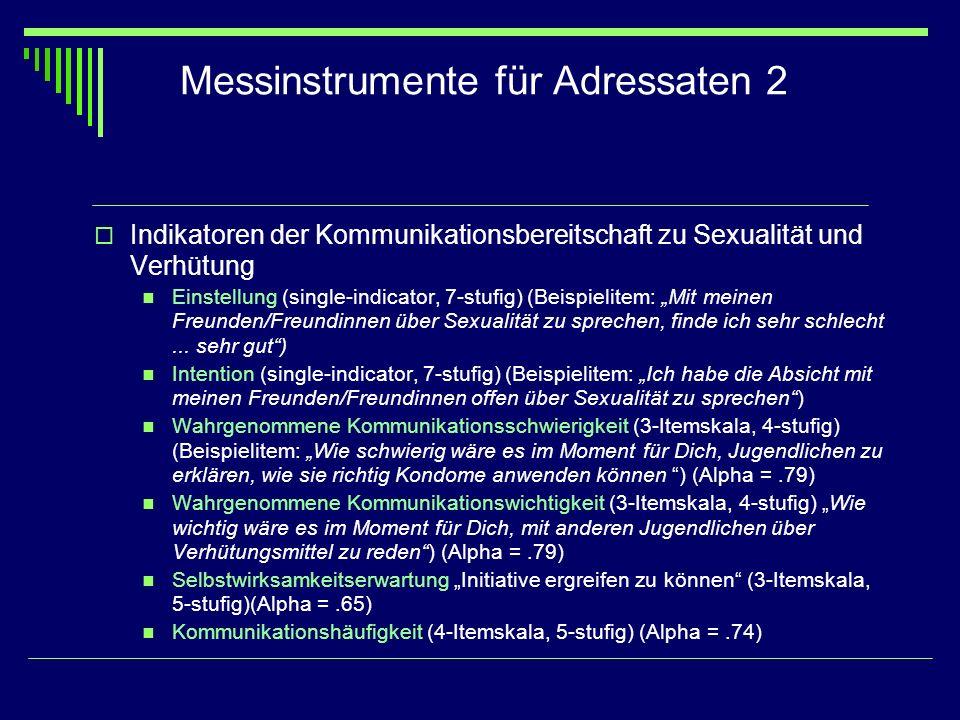 Messinstrumente für Adressaten 2 Indikatoren der Kommunikationsbereitschaft zu Sexualität und Verhütung Einstellung (single-indicator, 7-stufig) (Beis
