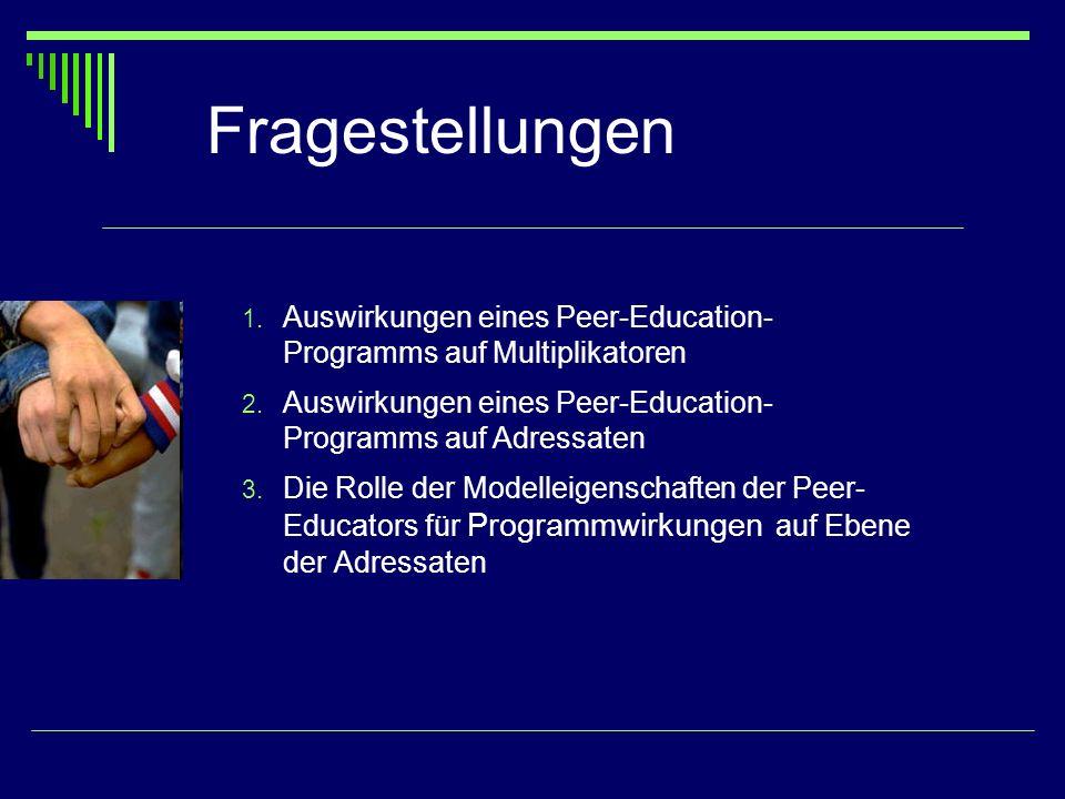 Fragestellungen 1. Auswirkungen eines Peer-Education- Programms auf Multiplikatoren 2. Auswirkungen eines Peer-Education- Programms auf Adressaten 3.