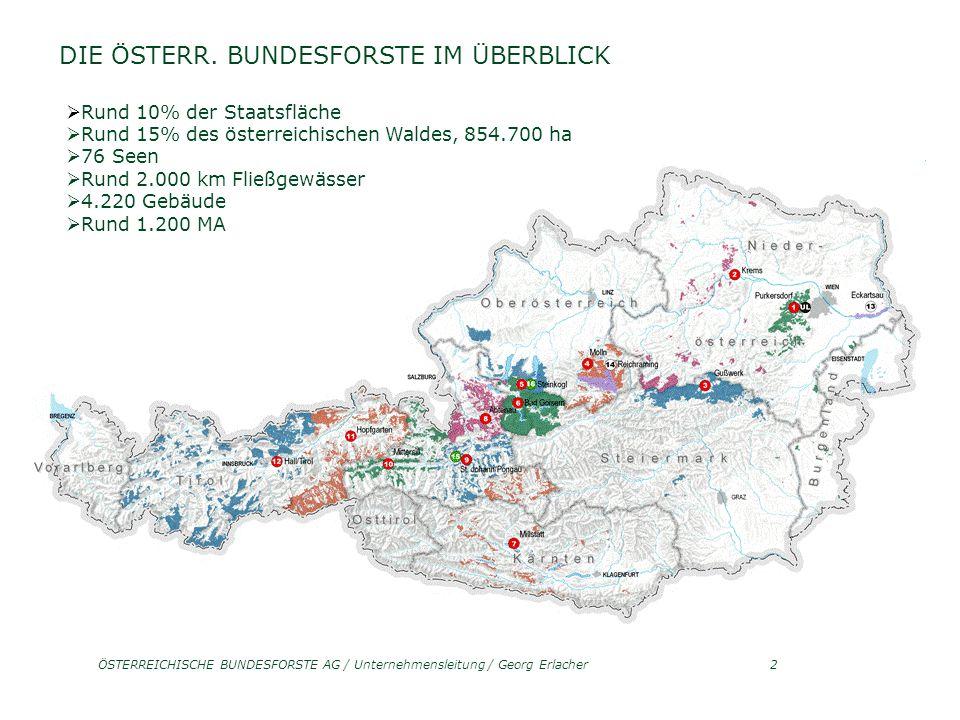 ÖSTERREICHISCHE BUNDESFORSTE AG / Unternehmensleitung / Georg Erlacher3 ANSPRUCHSVOLLE ARBEITSPLÄTZE