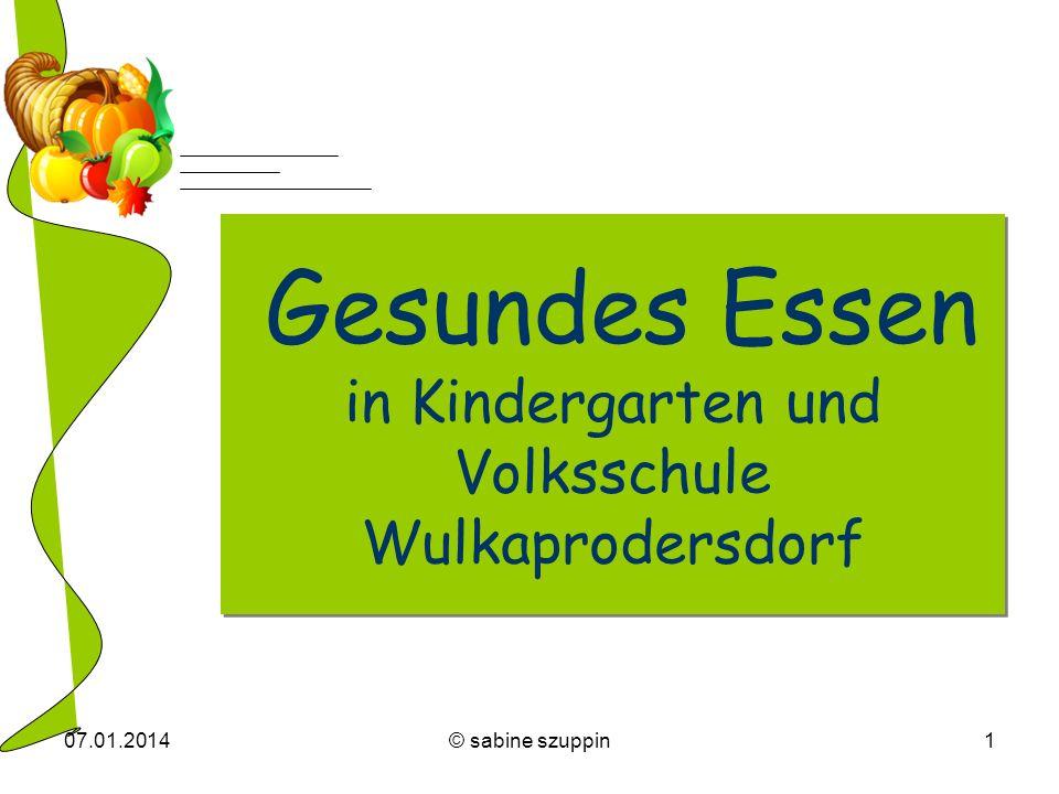07.01.2014© sabine szuppin1 Gesundes Essen in Kindergarten und Volksschule Wulkaprodersdorf