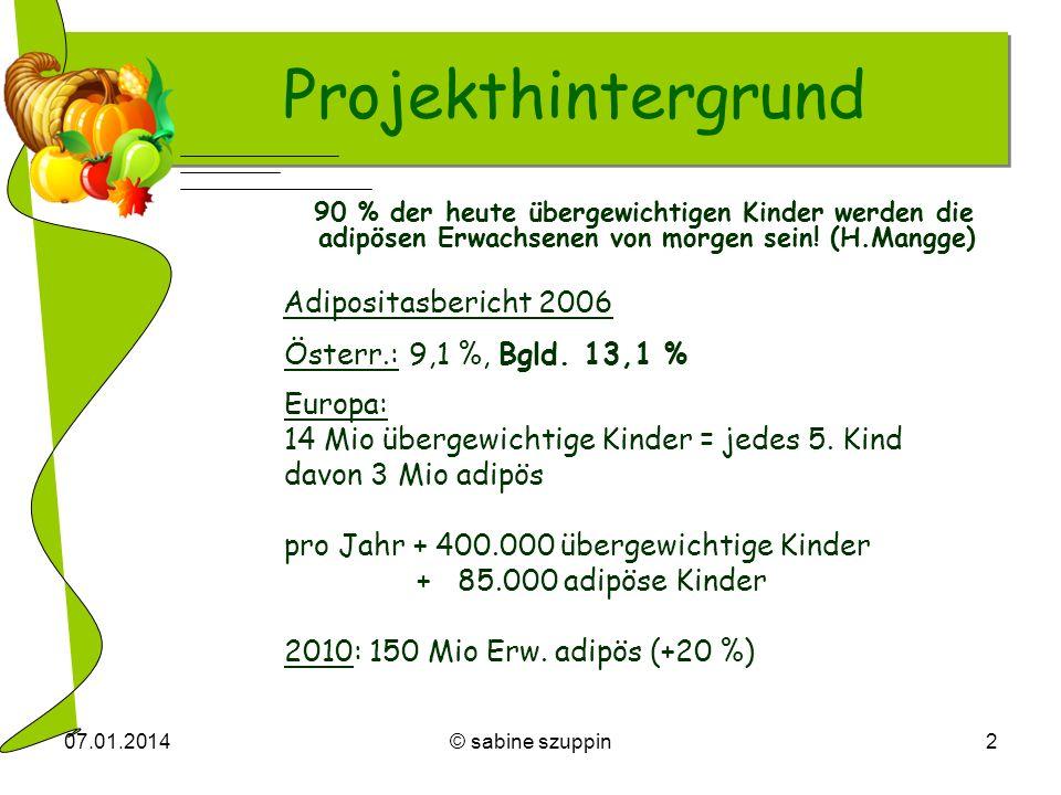 07.01.2014© sabine szuppin2 Projekthintergrund 90 % der heute übergewichtigen Kinder werden die adipösen Erwachsenen von morgen sein! (H.Mangge) Adipo