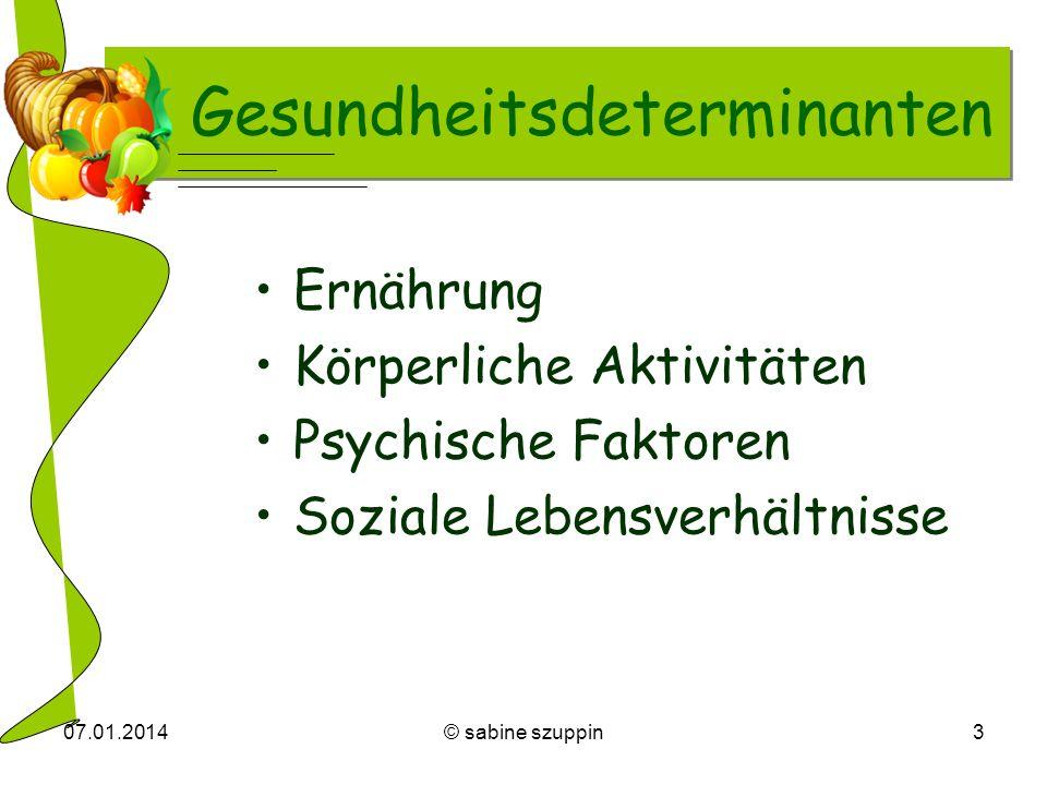 07.01.2014© sabine szuppin3 Gesundheitsdeterminanten Ernährung Körperliche Aktivitäten Psychische Faktoren Soziale Lebensverhältnisse
