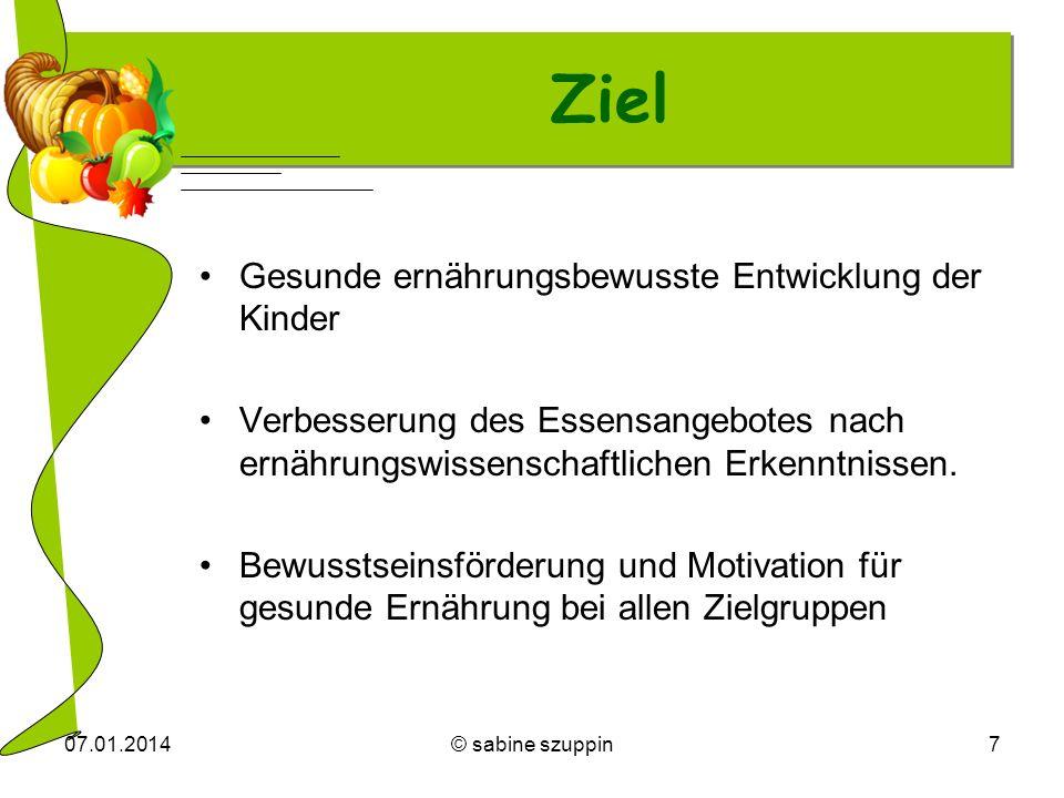 07.01.2014© sabine szuppin7 Ziel Gesunde ernährungsbewusste Entwicklung der Kinder Verbesserung des Essensangebotes nach ernährungswissenschaftlichen