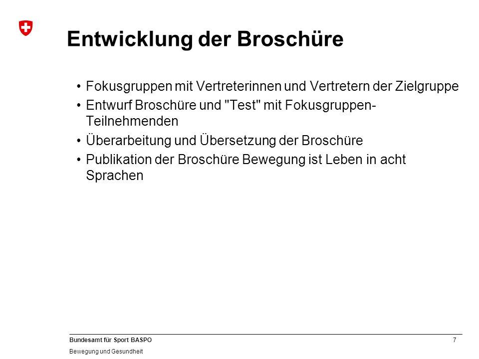 8 Bundesamt für Sport BASPO Bewegung und Gesundheit Migrationsspezifisch.