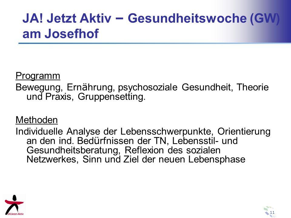 11 JA! Jetzt Aktiv – Gesundheitswoche (GW) am Josefhof Programm Bewegung, Ern ä hrung, psychosoziale Gesundheit, Theorie und Praxis, Gruppensetting. M
