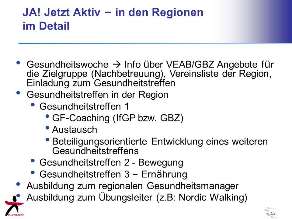 13 JA! Jetzt Aktiv – in den Regionen im Detail Gesundheitswoche Info ü ber VEAB/GBZ Angebote f ü r die Zielgruppe (Nachbetreuung), Vereinsliste der Re