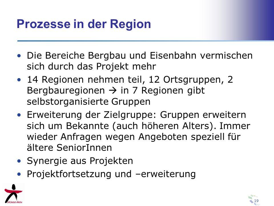 19 Prozesse in der Region Die Bereiche Bergbau und Eisenbahn vermischen sich durch das Projekt mehr 14 Regionen nehmen teil, 12 Ortsgruppen, 2 Bergbau