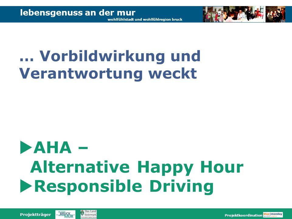 lebensgenuss an der mur wohlfühlstadt und wohlfühlregion bruck Projektträger Projektkoordination AHA – Alternative Happy Hour Responsible Driving … Vorbildwirkung und Verantwortung weckt