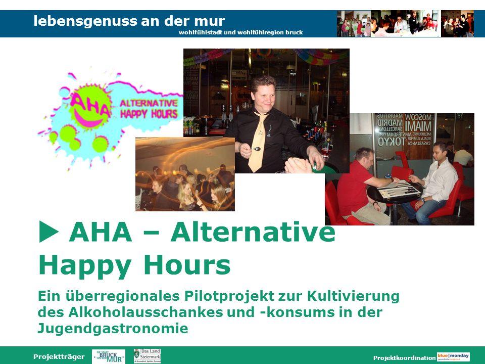 lebensgenuss an der mur wohlfühlstadt und wohlfühlregion bruck Projektträger Projektkoordination AHA – Alternative Happy Hours Ein überregionales Pilotprojekt zur Kultivierung des Alkoholausschankes und -konsums in der Jugendgastronomie