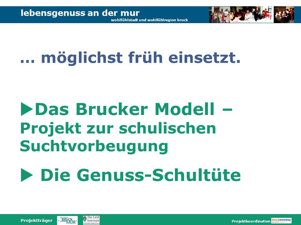 lebensgenuss an der mur wohlfühlstadt und wohlfühlregion bruck Projektträger Projektkoordination Das Brucker Modell – Projekt zur schulischen Suchtvorbeugung Die Genuss-Schultüte … möglichst früh einsetzt.