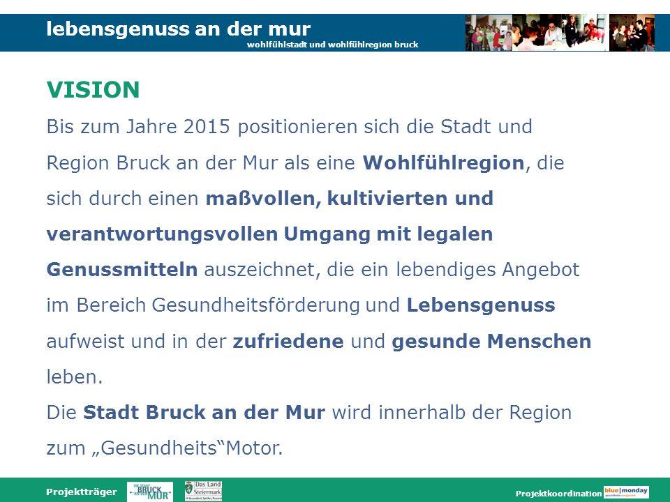 lebensgenuss an der mur wohlfühlstadt und wohlfühlregion bruck Projektträger Projektkoordination Bis zum Jahre 2015 positionieren sich die Stadt und R