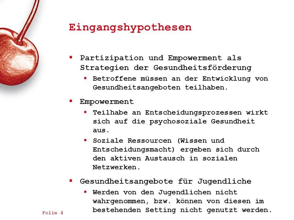 Eingangshypothesen Partizipation und Empowerment als Strategien der Gesundheitsförderung Betroffene müssen an der Entwicklung von Gesundheitsangeboten