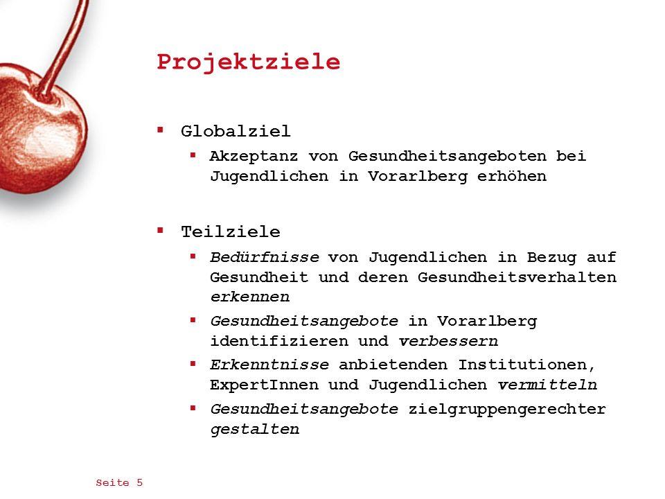 Seite 6 Zielgruppe Jugendliche (Mädchen und Burschen) im Alter von 13-20 Jahren Regionale Schwerpunktgebiete Regionen Bregenz, Dornbirn, Lustenau, Hohenems und Bludenz Sekundäre Zielgruppe JugendarbeiterInnen in der offenen Jugendarbeit MitarbeiterInnen in Gesundheitseinrichtungen mit Angeboten für Jugendliche