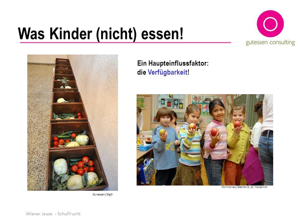 Was Kinder (nicht) essen! Ein Haupteinflussfaktor: die Verfügbarkeit! Formanek/Gebhard, Ja! Nat ü rlich Gutessen/Geßl Wiener Jause - Schulfrucht