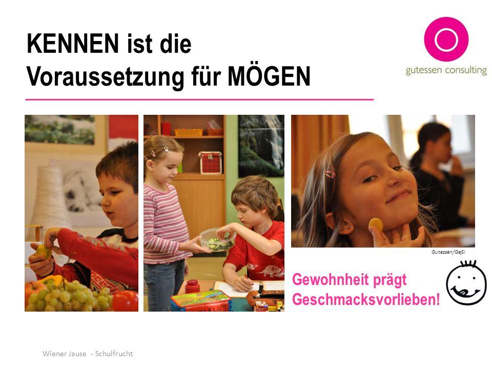 KENNEN ist die Voraussetzung für MÖGEN Gewohnheit prägt Geschmacksvorlieben! Gutessen/Geßl Wiener Jause - Schulfrucht