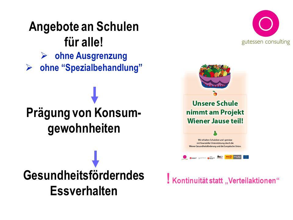 Angebote an Schulen für alle! ohne Ausgrenzung ohne Spezialbehandlung Prägung von Konsum- gewohnheiten Gesundheitsförderndes Essverhalten ! Kontinuitä