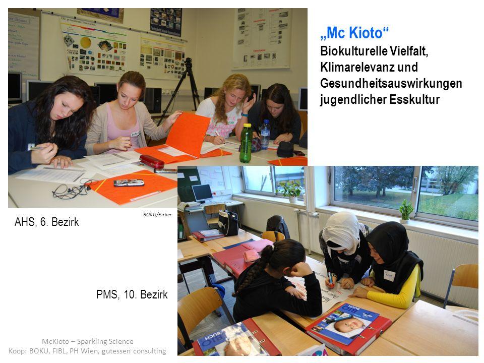 Mc Kioto Biokulturelle Vielfalt, Klimarelevanz und Gesundheitsauswirkungen jugendlicher Esskultur AHS, 6. Bezirk PMS, 10. Bezirk BOKU/Pirker McKioto –
