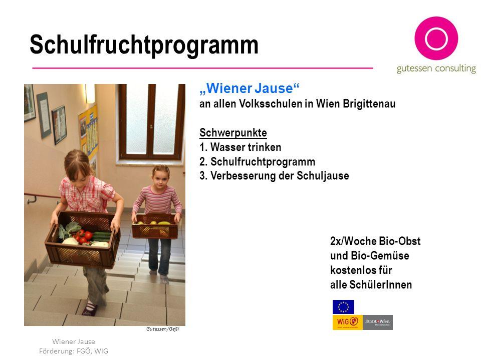 Schulfruchtprogramm 2x/Woche Bio-Obst und Bio-Gemüse kostenlos für alle SchülerInnen Gutessen/Geßl Wiener Jause an allen Volksschulen in Wien Brigitte