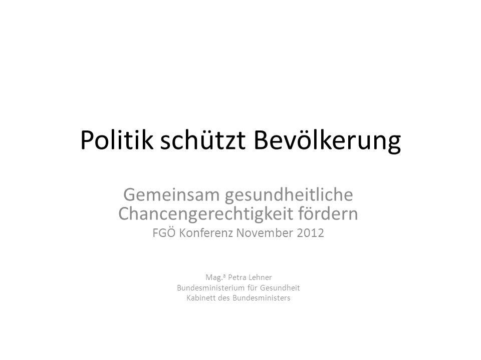 Politik schützt Bevölkerung Gemeinsam gesundheitliche Chancengerechtigkeit fördern FGÖ Konferenz November 2012 Mag. a Petra Lehner Bundesministerium f