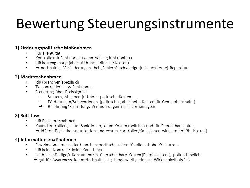 Bewertung Steuerungsinstrumente 1) Ordnungspolitische Maßnahmen Für alle gültig Kontrolle mit Sanktionen (wenn Vollzug funktioniert) idR kostengünstig