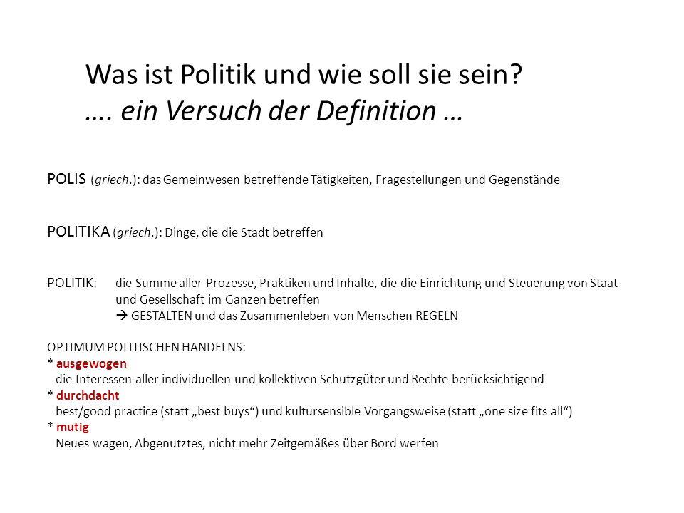 POLIS (griech.): das Gemeinwesen betreffende Tätigkeiten, Fragestellungen und Gegenstände POLITIKA (griech.): Dinge, die die Stadt betreffen POLITIK :
