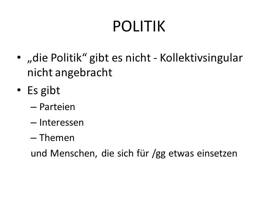 POLITIK die Politik gibt es nicht - Kollektivsingular nicht angebracht Es gibt – Parteien – Interessen – Themen und Menschen, die sich für /gg etwas e