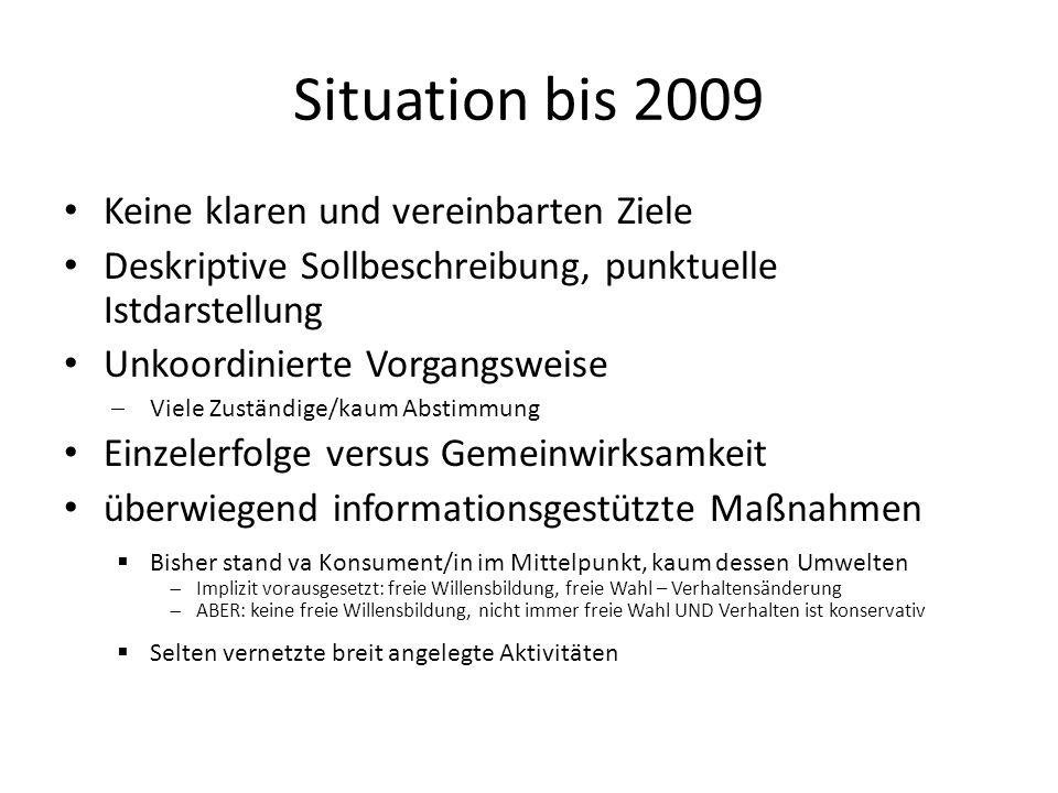 Situation bis 2009 Keine klaren und vereinbarten Ziele Deskriptive Sollbeschreibung, punktuelle Istdarstellung Unkoordinierte Vorgangsweise Viele Zust