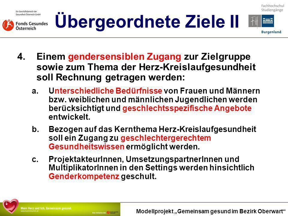 Modellprojekt Gemeinsam gesund im Bezirk Oberwart Übergeordnete Ziele II 4.Einem gendersensiblen Zugang zur Zielgruppe sowie zum Thema der Herz-Kreisl