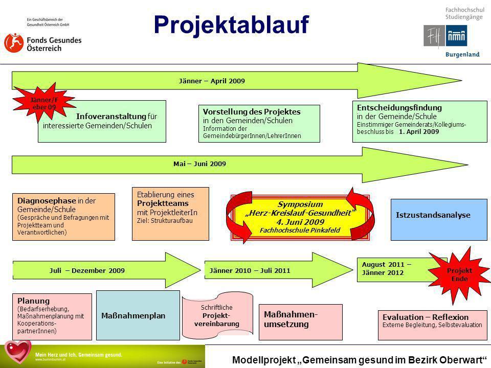 Modellprojekt Gemeinsam gesund im Bezirk Oberwart Projektablauf Schriftliche Projekt- vereinbarung Vorstellung des Projektes in den Gemeinden/Schulen