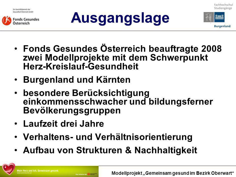 Modellprojekt Gemeinsam gesund im Bezirk Oberwart Ausgangslage Fonds Gesundes Österreich beauftragte 2008 zwei Modellprojekte mit dem Schwerpunkt Herz